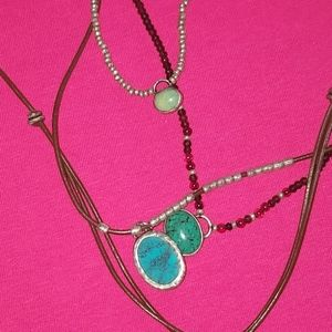 n/a Jewelry - 925 beautiful leather necklace turquoise stones
